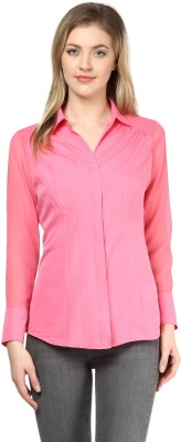 LY2 Women's Solid Casual Pink Shirt