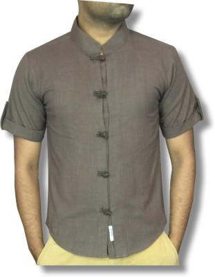 hmm Men's Solid Casual Linen Brown Shirt