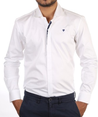 FORTY ONE FITZROY Men's Solid Party White Shirt