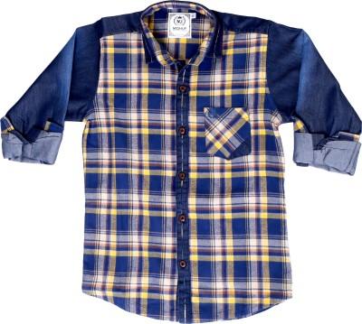 Mash Up Boy's Checkered Casual Yellow Shirt