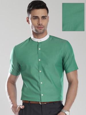 Invictus Men's Solid Formal Green Shirt