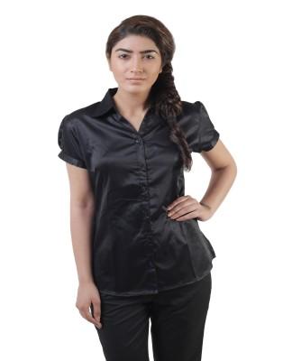 Lee Marc Women's Solid Formal Black Shirt
