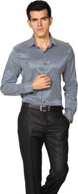 Provogue Men's Striped Formal Blue Shirt
