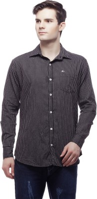 Akara Men's Striped Casual Black Shirt
