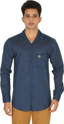 Rug Bee Men's Solid Casual Dark Blue Shirt