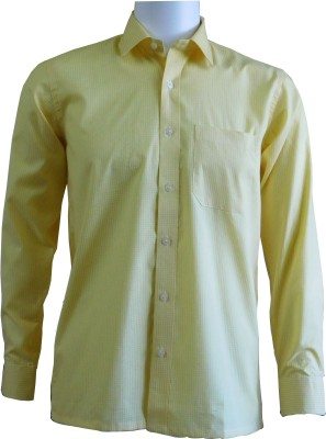 Ardeur Men's Checkered Casual Yellow Shirt