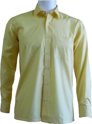 Ardeur Men's Checkered Formal Yellow Shirt