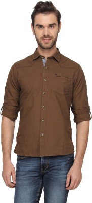 T-Base Men's Solid Casual Brown Shirt
