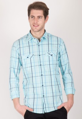 Cairon Men's Checkered Casual Light Blue Shirt
