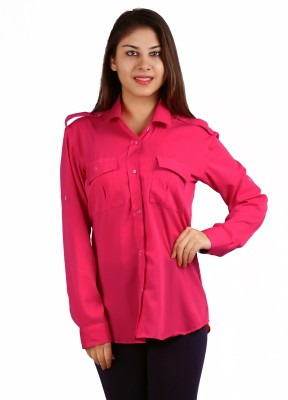 Lady Stark Women's Solid Casual Pink Shirt