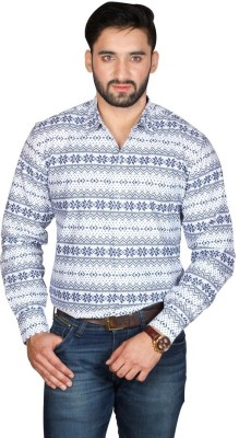 Bag Your Rag Men's Printed Casual White Shirt