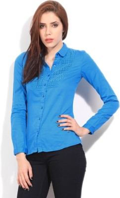 Wrangler Women's Solid Casual Blue Shirt
