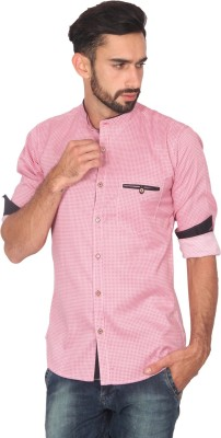 Ashford Brown Men's Printed Casual Pink Shirt