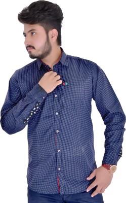 Red Kangaroo Men's Printed Casual Blue Shirt