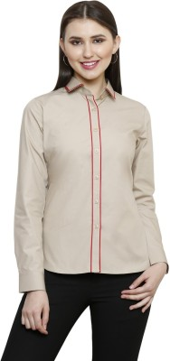see Designs Women's Solid Casual Beige Shirt