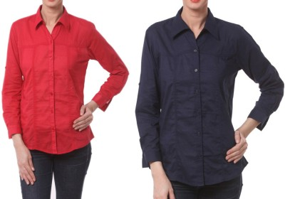 Meow Women's Solid Formal Red, Dark Blue Shirt