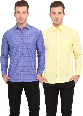 Ennoble Men's Solid Casual Blue, Yellow Shirt