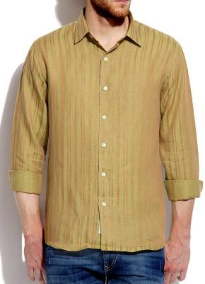 Roar and Growl Men,s Striped Formal Linen Multicolor Shirt