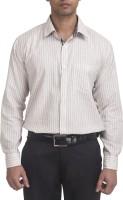 Trensup Formal Shirts (Men's) - Trensup Men's Striped Formal Beige, Black Shirt