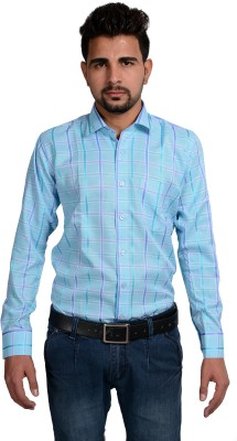 Riwas Collection Men,s Checkered Formal Light Blue, Blue Shirt