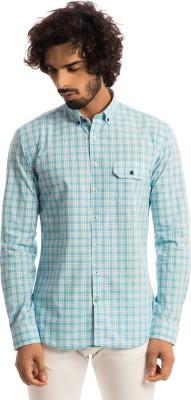Specimen Men's Checkered Casual Light Blue Shirt
