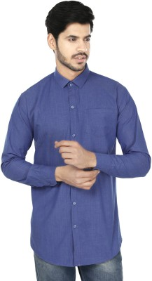 Perky Look Men's Solid Casual Blue Shirt