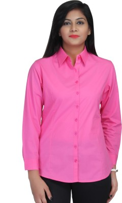Estella Fashion Women's Solid Formal Pink Shirt