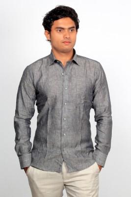 Green Bows Men's Self Design Formal Linen Grey Shirt