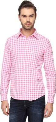 Cross Creek Men's Checkered Casual Pink Shirt