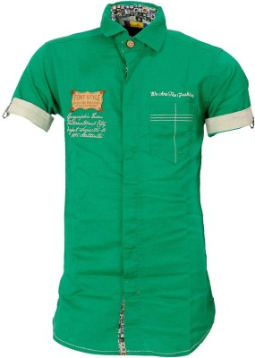 Font Kids Boy,s Solid Casual Linen Green Shirt