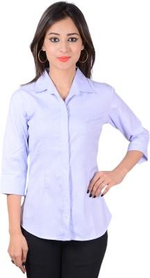 Jazzy Ben Women's Solid Formal Light Blue Shirt