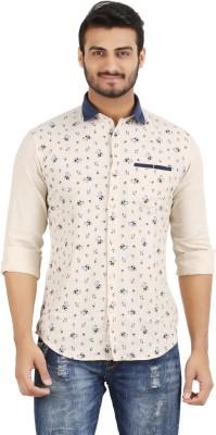 Volume Zero Men's Printed Casual Beige Shirt