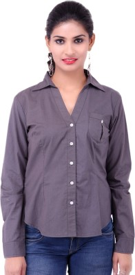 Fbbic Women's Solid Formal Grey Shirt