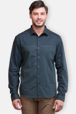 four one oh Men's Checkered Formal Grey Shirt