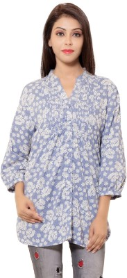 Goodwill Impex Women's Printed Casual Blue Shirt