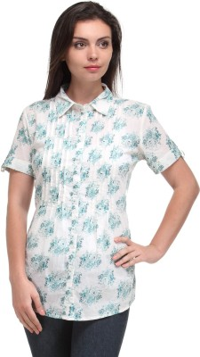 Kiosha Women's Printed Casual White, Blue Shirt