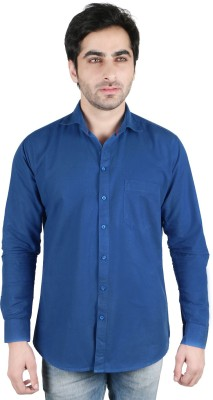 Being Friends Men's Solid Casual Blue Shirt