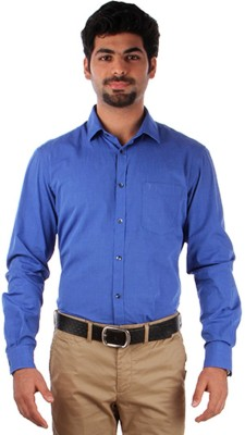 Indian Terrain Men's Solid Formal Blue Shirt