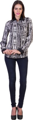 Crosstitch Women's Printed Party Black Shirt