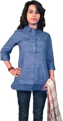 Miraaya Women's Solid Formal Blue Shirt