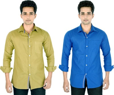 Yuva Men's Striped Casual Linen Beige, Blue Shirt