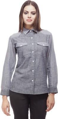 Peptrends Women's Printed Casual Reversible Grey Shirt