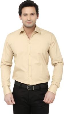 Alan Woods Men's Solid Casual Beige Shirt
