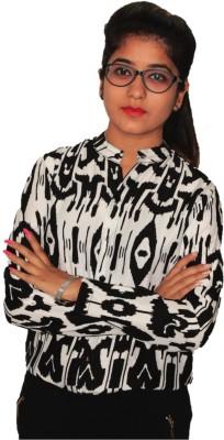 NITRA Women's Geometric Print Casual Black, White Shirt