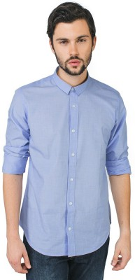 Bewakoof Men's Solid Casual Blue Shirt