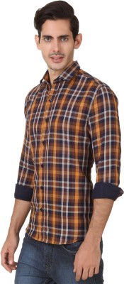 Smithsoul Men's Checkered Casual Brown Shirt