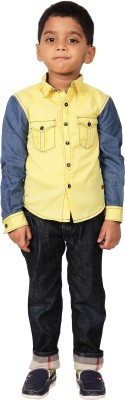 I-Voc Boy's Solid Casual Yellow, Blue Shirt