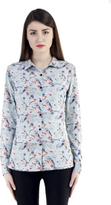 Belly Bottom Women's Printed Casual Blue Shirt
