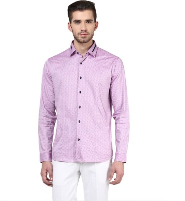 Invern Men's Solid Casual Pink Shirt