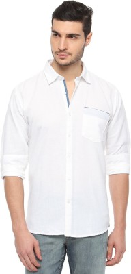 FERROUS Men's Solid Casual White Shirt